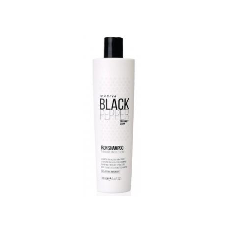 Plaukus nuo karščio saugantis šampūnas Inebrya Black Pepper Iron Shampoo su juodaisiais pipirais, 300 ml