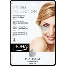 Paakių kaukė Iroha Divine Collection Foil Tissue Patches Extra Glowing su platina, hialiurono rūgštimi ir vitaminu C, 2 vnt.