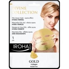 Stangrinamoji veido kaukė Iroha Divine Collection FOIL Tissue Mask Hydra Firming su 24K auksu ir kolagenu, 25 ml