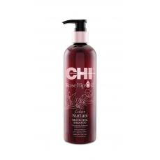 CHI Rose Hip Oil šampūnas dažytiems plaukams su erškėtuogių aliejumi, 340 ml